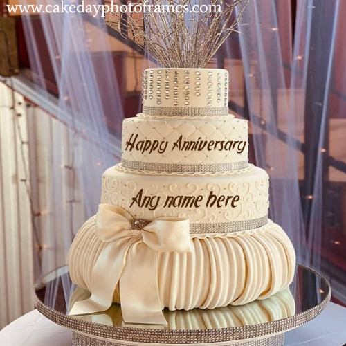 romantic happy anniversary cake with name