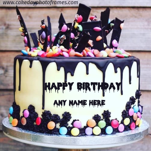 Make Chocolate Happy Birthday cake with Name Image