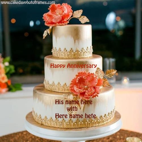 Write Your Name on three layers Anniversary Cake Name