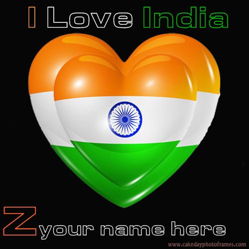 Write your name on Indian flag Z alphabet name pic