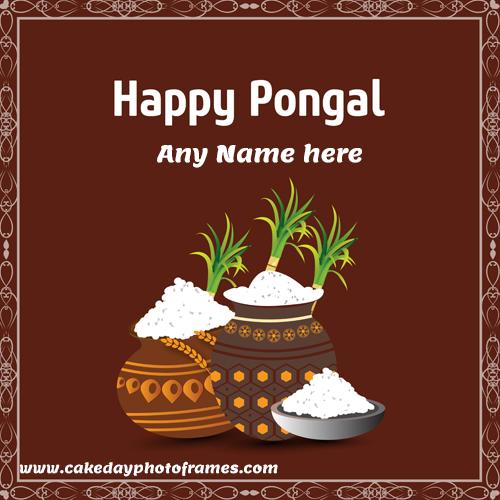 Write a name on Happy Pongal wishing Card