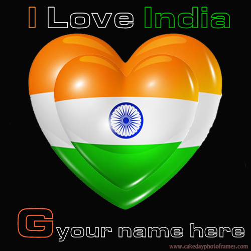 Write your name on Indian flag G alphabet name pic