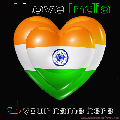 Write your name on Indian flag J alphabet name pic