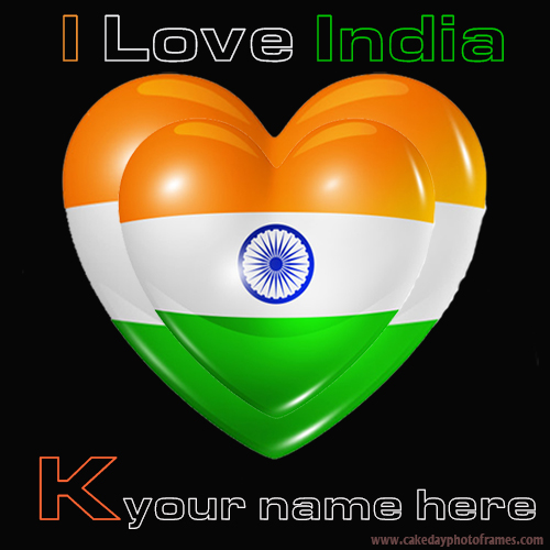 Write your name on Indian flag K alphabet name pic