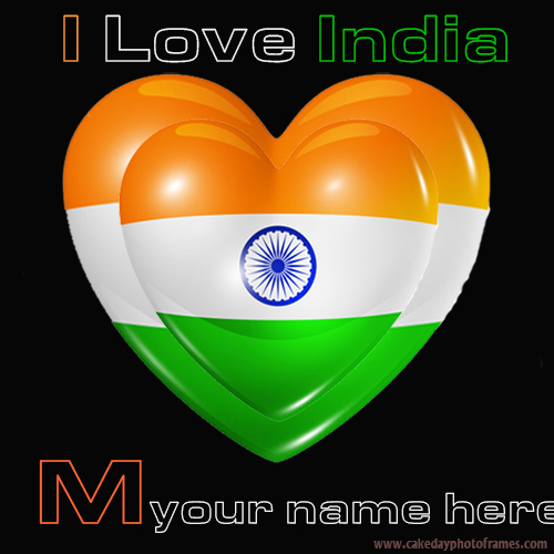 Write your name on Indian flag M alphabet name pic