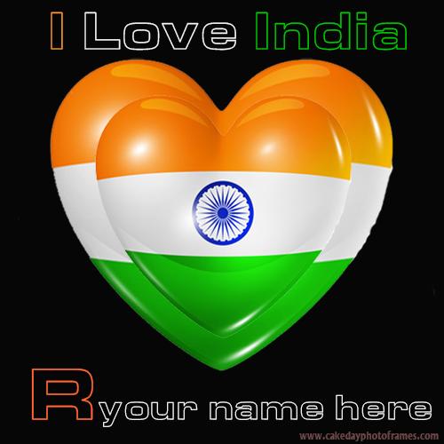 Write your name name on Indian flag R alphabet name pic