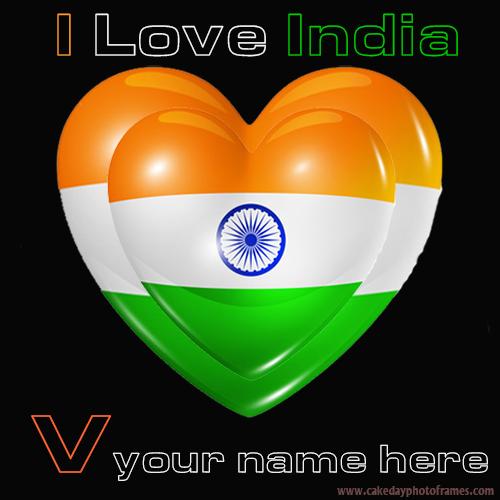 Write your name name on Indian flag V alphabet name pic