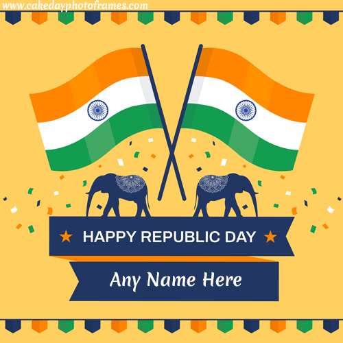 happy republic day 2020 greeting card with name