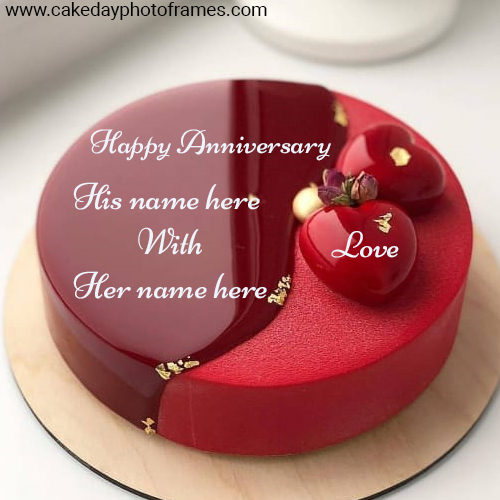 Happy Anniversary Romantic Red love with Name pic