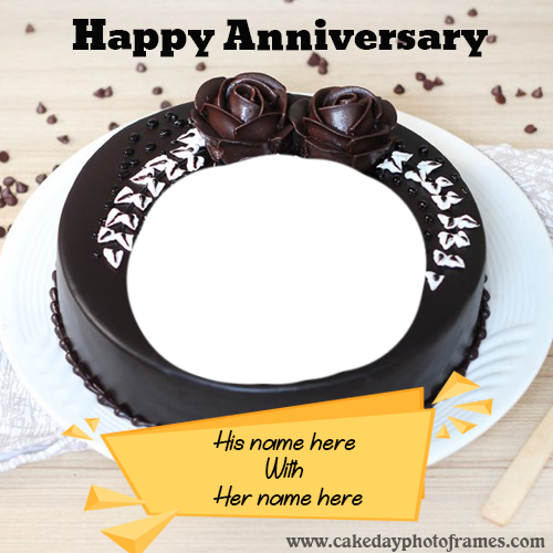 happy anniversary chocolate cake with name and photo