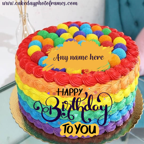 Swell Happy Birthday Cake With Name Edit Free Download Cakedayphotoframes Funny Birthday Cards Online Elaedamsfinfo