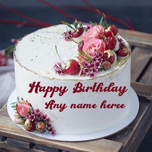 Birthday Cake With Name And Photo Edit Cakedayphotoframes