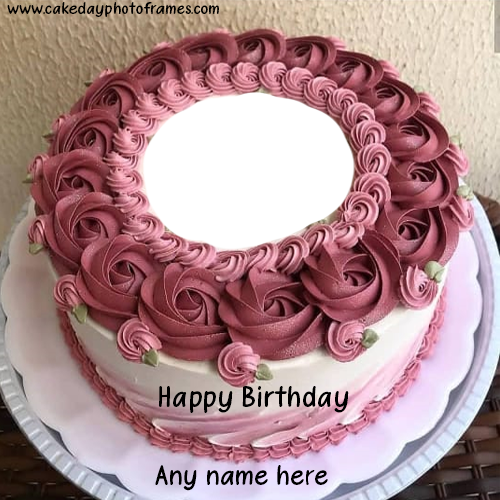 Peachy Happy Birthday Cake With Name And Photo Edit Online Free Funny Birthday Cards Online Overcheapnameinfo