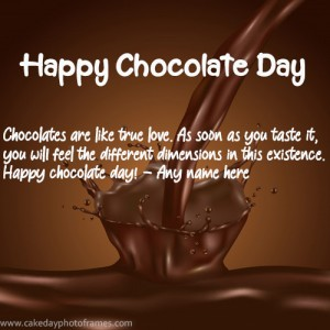 happy chocolate day greeting card with name