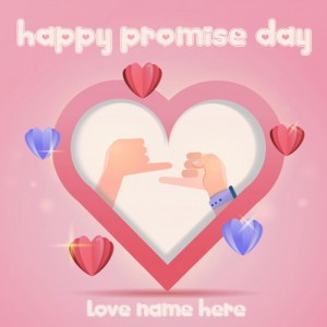 Heart shape Promise Day Card with name photo