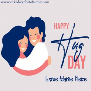 Happy Hug Day greeting card with name pic