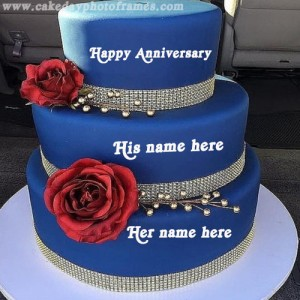 happy wedding anniversary cake with name edit