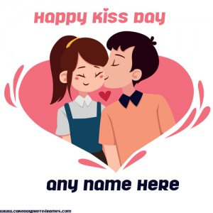 happy kiss day greetings card with name