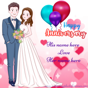 Happy Anniversary Card with Couple Name
