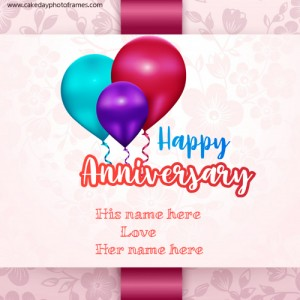 happy wedding anniversary card with name edit