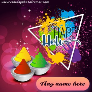 happy holi greeting card with name
