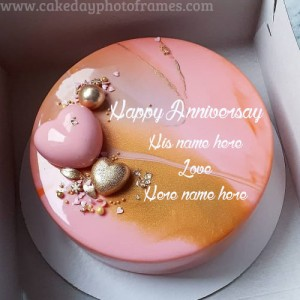 Golden Anniversary wishes cake with Name edit online