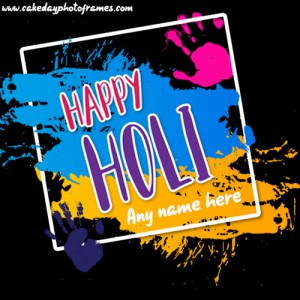 happy holi greeting card with name free edit