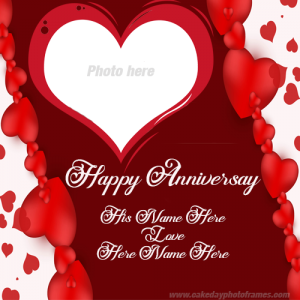 wedding anniversary card with name and photo edit