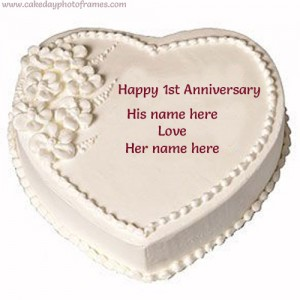 Happy 1st Anniversary Cake with Couple Name