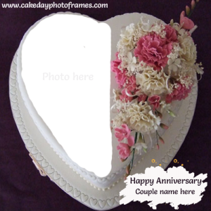wedding anniversary cake with name and photo