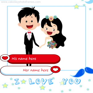 Love Photo frame with Couple Name and Photo