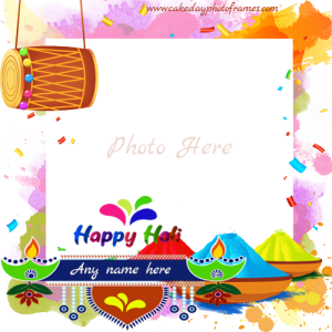 Happy Holi 2020 Card with Name and Photo frame
