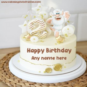 happy 2nd birthday cake with name free edit