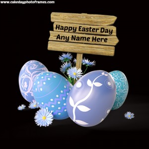 happy easter day 2020 greeting card with name