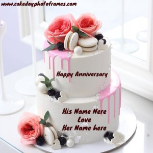 Happy Anniversary Cake with Couple Name for your Love