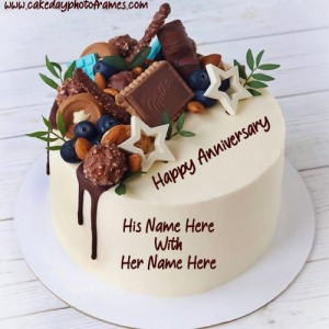 Amazing Happy Anniversary cake with couple name