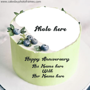 Create Happy Anniversary cake with Couple name and photo
