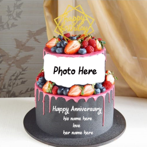 Romantic Anniversary Cake with Couple Name and photo