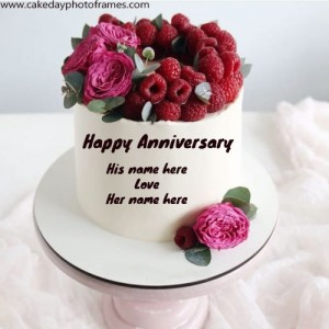 Happy Anniversary Couple Name Cake Image for free