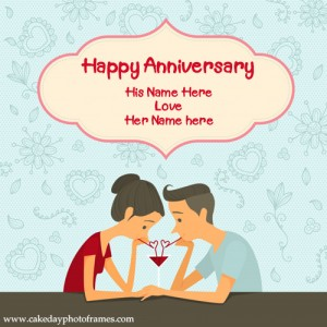 Happy Anniversary Couple Name Card Online