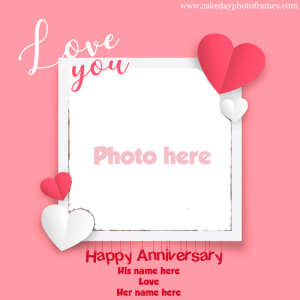 Happy Anniversary Card with Couple Name & Photoframe