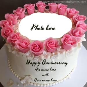 Create online anniversary Cake with name & Photo of couple