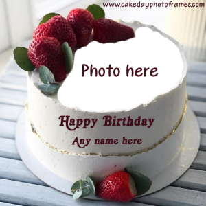 happy birthday cake with name and photo free download edit