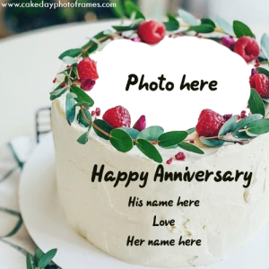 Create Happy Anniversary Cake with couple Name & Photo free