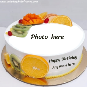 Online Happy Birthday cake with Name & photo editor
