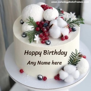 Decorated Happy Birthday cake with Name image