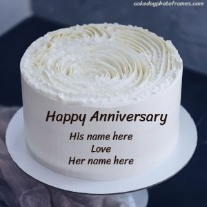 Beautiful White Rose Anniversary Cake with Name