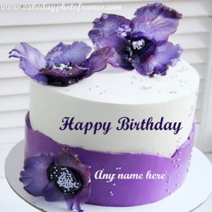Purple Flower Birthday Cake with Name