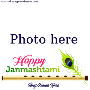 Happy Janmashtami wishes card with Name & Photo