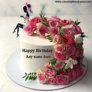Pink Rose Flower & Doll Cake with Name Editor